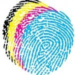 three coloured fingerprints