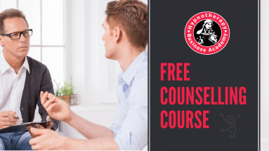 Two male therapists in deep discussion with text Free Counselling Course to Install a Confidence App In the Brain