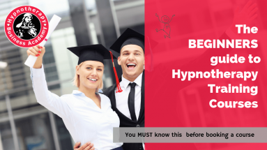 Hypnotherapy Graduates Celebrating with text The Beginners Guide to Hypnotherapy Training