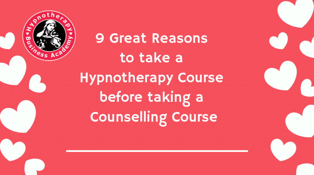 Logo plus text 9 Great Reasons To Take a Hypnotherapy Course before Taking a Counselling Course by Susan Wallace