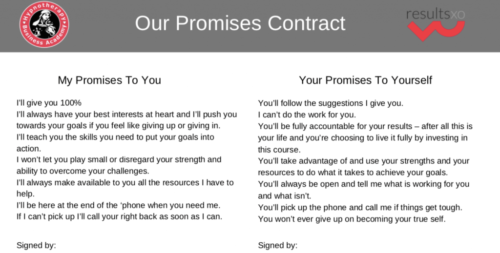 Learning Therapy - My promises contract I share with my students. My promises to you are listed and your promises to yourself are also listed.